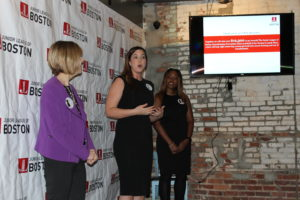 LBDI co-chair Stephanie Lincoln shares the fundraising goal at the kickoff event.