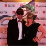 JL Boston member and her guest at the 2017 Moonlight Masquerade