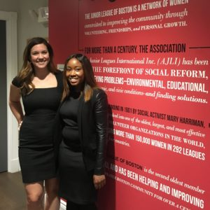 Stephanie Lincoln Lerner and Brittany Williams, co-chairs of the 2017-2018 Little Black Dress Initiative program which raised over $20,000 to support homeless women and children in Boston.