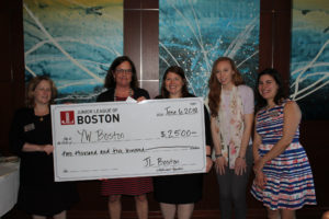Grant recipients from YW Boston with JL Boston president Karen Page and Community committee members Melissa Herman, Catherine Manning, and Jane Theriault