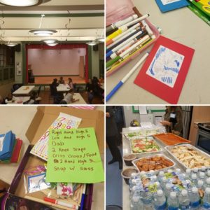"Clockwise from top left: The Learning Circles space in the Boys & Girls Club; make-your-own-passports project in process; the Indian meal served to celebrate Diwali; the Learning Circles ""secret handshake"" created by participants."