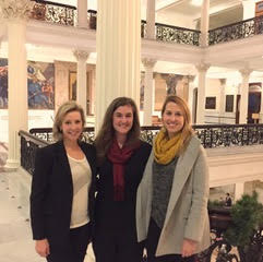 JL Public Advocacy Committee members sitting in on legislative hearings for Joint Committee on Children and Families at State House visit on December 5th, 2017. L to R, Carrie Murphy -Chair, Kate Petrich - committee member, Kate Hipps - committee member