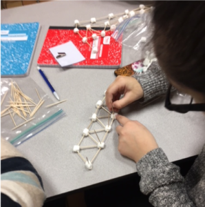 STEM program participants experiment with different structural models using marshmallows and toothpicks.